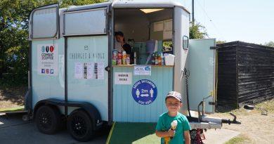 Converted trailer serving ice cream at Needham Lake
